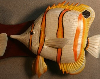 Copperband butterfly fish woodcarving, fishcarving,
