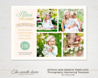 Mini Session Template - Photography Marketing Templates - Marketing Board - Photoshop Templates - 5X7 inch - INSTANT DOWNLOAD