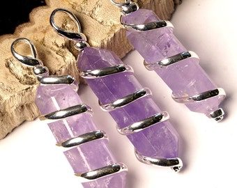 "BEST Double Term Amethyst Pendant In Silver Plated Spiral & 18"" Chain (WA12BT)"