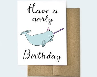 Narwhal Birthday Card | Narwhal Gifts |  Birthday Card for Her | Birthday Card for Him | Best Friend Card