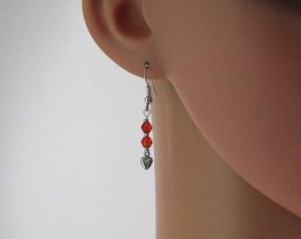 Silver Petite Hears Red Glass Beads Earrings
