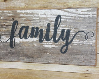Reclaimed Wood 'FAMILY' Sign Chippy Wood Salvaged Old Barn Wood