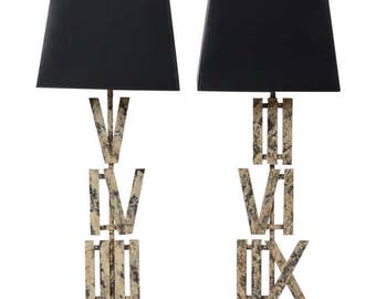 Pair of Painted Roman Numeral Lamps