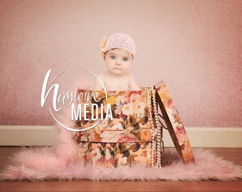 Beautiful Pink Newborn Baby Portrait - Pink Vintage Dressup Flower Box - Digital Backdrop - Baby Photography Portrait - Instant Download