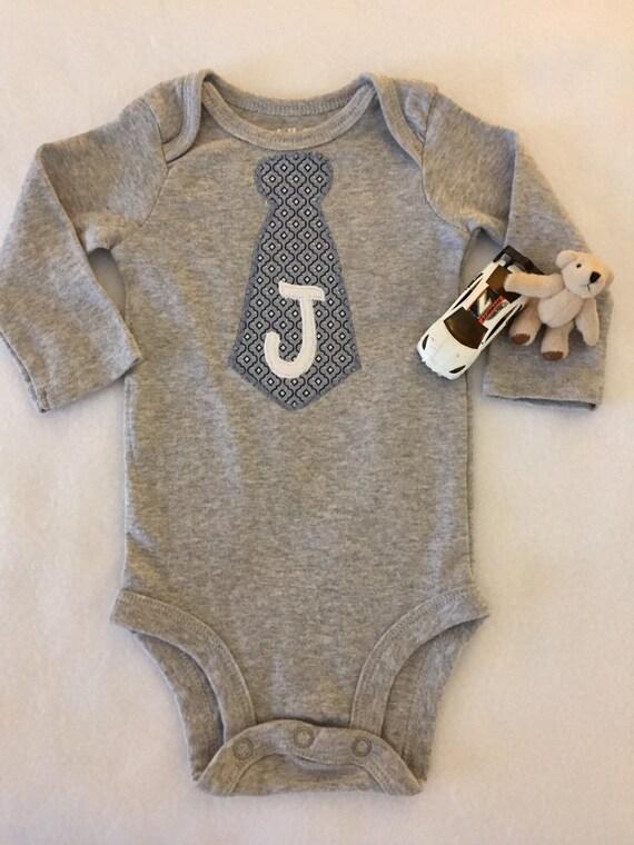 Baby boy personalized tie appliqué onesie bodysuit