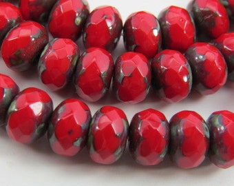 6 x 9mm Apple Red Rondells Light Metallic Picasso Finish Czech Glass Faceted Fire Polished Opaque 10 Beads PRERON012