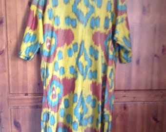 Silk Long Loose Shirt Dress with Traditional Multicoloured Uzbekistan Print/Straight Cut/Elbow Sleeves/Hand Made/1990s