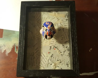 3D Shadow Box Art Mixed Media Framed Art with Chinese Opera Mask