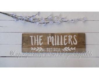 family sign / family established / family name sign / family sign wood / last name established sign / custom established sign / 18x5.5