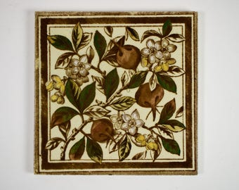 Antique 1890s Sherwin and Cotton blossom pottery tile
