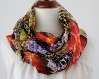 Scarf loop chiffon flowers Leo white brown red violet green FLORENCE écharpe tube infinity scarf