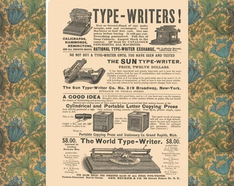 Typewriter Poster, Writer Gift Art, Vintage Typewriter Wall Art