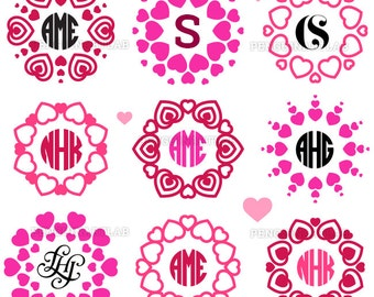 My Valentine Monogram SVG Frames Heart Valentine's Day Cut Files for Cutting Machines, Cricut, Silhouette - Svg, Dxf, Eps, Png, Studio3