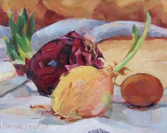 Sprouting Onions original oil painting