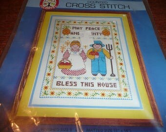 1985 Colortex Counted Cross Stitch Kit May Peace And Plenty Bless This House