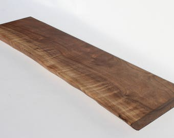 """Black Walnut Live edge floating shelf Item #154 Complete with Mounting Bracket,Hardware, and Instructions for Installation 9"""" x 34"""""""