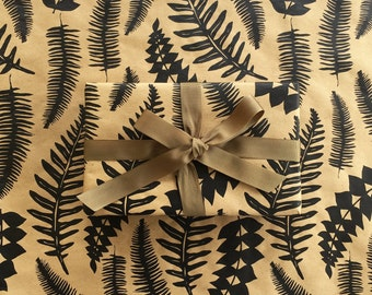 Wrapping Paper - Fern Gift Wrapping Paper, Screen Printed, Wrapping Paper, 9ft Roll, Paper Table Runner, Gift Wrap, Floral Wrapping Paper