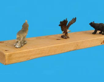 """reclaimed wood floating shelf recycled , 30"""" by 6"""" by 2"""" , with steel bracket , reclaimed from a closed mill-shelf 603"""