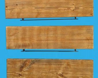 "reclaimed pine wood floating shelf with steel bracket 30"" by 8"" by 1-1/2"", 619-30"