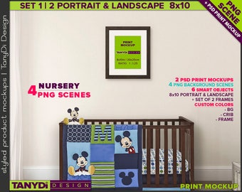 Nursery Interior N17 | Print Mockup | Set of 2 Dark Wood Portrait & Landscape 8x10 Frame | 4 PNG scene Wood crib