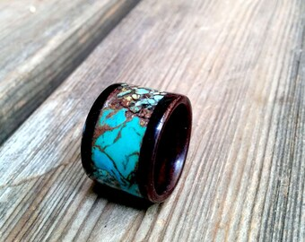 Marbled Turquoise Rose Wood Ring.  12mm  Wide.