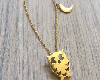Owl necklace with tiny moon in gold, silver or Rosegold, owl, owl necklace, moon, moon necklace, cute necklace, gift, dainty necklace