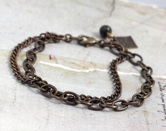 Oxidized bracelet Solid brass bracelet Rustic chain bracelet with clasp Antiqued brass jewelry Layering jewelry Multi chain bracelet