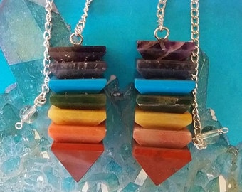 2 Seven Stone Pyramid CHAKRA CRYSTAL Dowsing PENDULUMS, Amethyst, Turquoise, Carnelian, Aventurine, Red Jasper, Reiki Divination