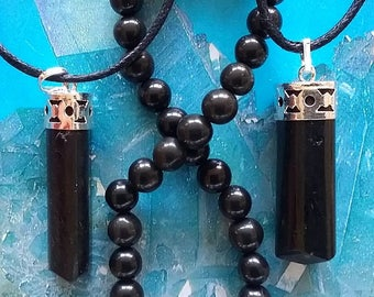 2 Solid Black TOURMALINE 35 Carat Silver PENDANTS With  Hemp Chains and Gift Box, Optional Bracelet