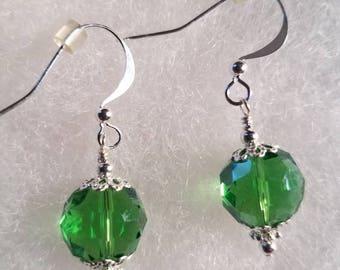 Sterling Silver Emerald Green Glass Crystal Earrings