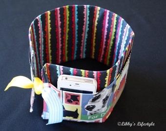 Dogs handbag organiser. Handmade.