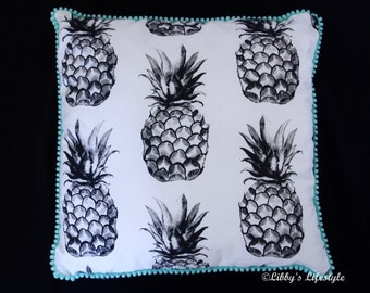 Pineapples cushion cover. Handmade.
