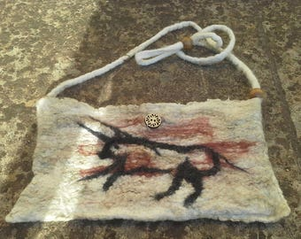 Wet felted shoulder bag, cave drawing.