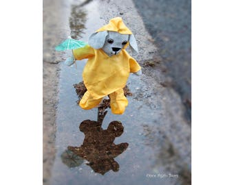 Rainy Day Dog Jumping in Puddles with Umbrella Instant Download Poster
