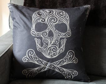 Tribal Skull Pillow Cover // Pirate Pillow Cover // Skull and Crossbones Pillow Cover // 18x18 Square Pillow Cover