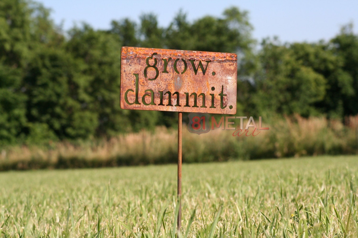 grow. dammit. metal garden stake, Garden Marker, Funny Garden Sign, Garden Humor, Funny Yard Sign, Gardener Gift Ideas, Rusty Garden Decor