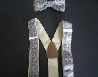 Saxe blue, vintage English woven silk bow tie and braces/suspenders set, interesting 'star' motif, elegant, stylish , great special gift.