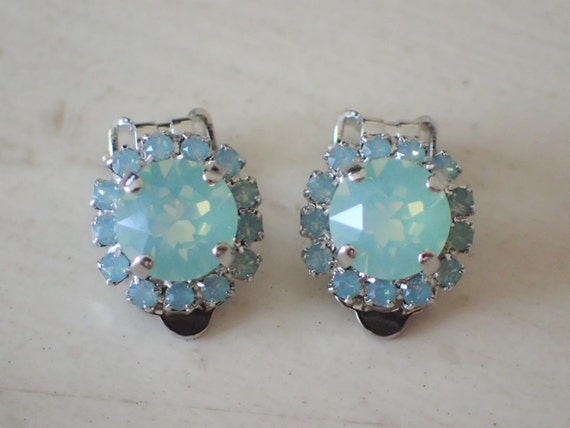 Chrysolite Opal and Pacific Opal Swarovski Crystal Clip On Earrings, Silver