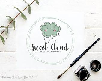 Kids Premade logo, Cloud Logo Design for your Business, Premade Kids logo with cloud, Kids Boutique Branding and Logo (A28)