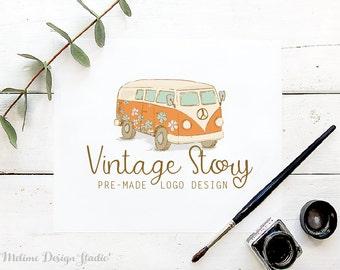 Vintage Style Logo, Pre-made Logo Design, Vintage Van Logo, Business Logo Branding, Hand Drawn Logo (43-LOGO)