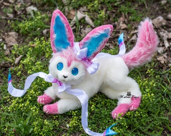 CUSTOM ORDER!Poseable Pokemon Sylveon. Fox plush, Eevee evolution