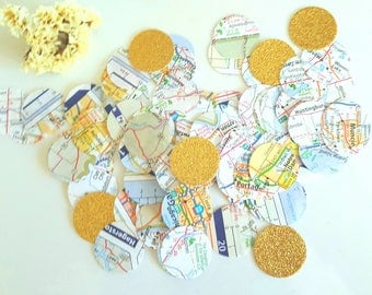 Map Confetti 400 Circle atlas Scrapbook,Map circle confetti,Atlas confetti,wedding confetti,Travel party confetti,bridal shower,