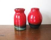 SALE   Red Vases Set of 2 Vintage Ceramic Vase Gradient