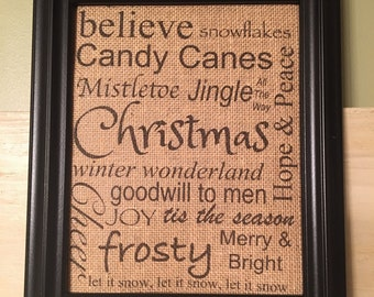Christmas subway burlap print, Christmas burlap print, burlap wall decor, Christmas decor