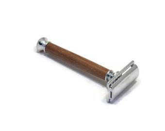 Wooden Safety Razor Handle Hand Made in Mahogany Wood. Ideal Gift for Husband, Boyfriend, Dad, Uncle etc. #23