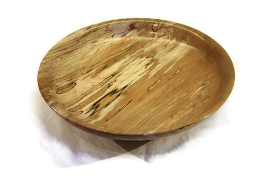 Large Wooden Plate/Bowl Hand Made from Spalted Beech wood. This would make an ideal fruit bowl or table centre-piece.
