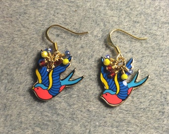 Blue, yellow and red enamel dove charm earrings adorned with tiny dangling blue, yellow and red Chinese crystal beads.