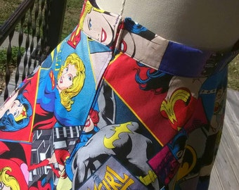 Wonder Woman skirt with Batgirl/Supergirl fabric can be Shorter or Longer (Pictured with Petticoat to show fullness of skirt, Not Included)