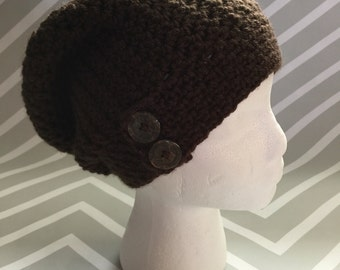 Button Tab Slouchy Hat