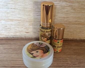 Violet Daisy fragrance set. Solid Perfume, Roll on & Spray Perfume.